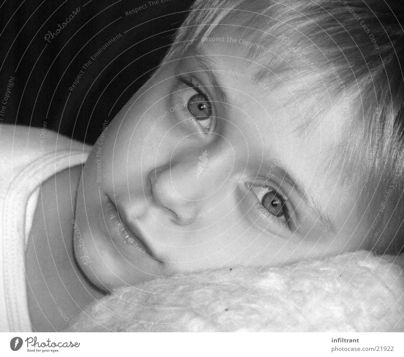 girl's portrait Portrait photograph Girl Child Black & white photo Face Eyes Mouth Nose Head