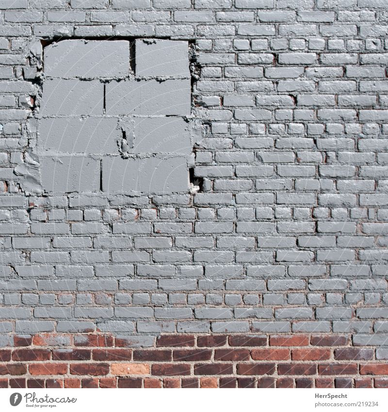 Freshly renovated Wall (barrier) Wall (building) Window Hideous Trashy Gloomy Gray Red Brick wall Brick facade window soffit Closed Paintwork Mortar Opening