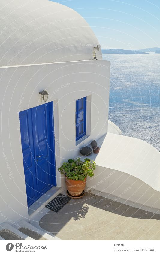 Cycladic view Vacation & Travel Tourism Cruise Ocean Island Aviation Water Sky Cloudless sky Horizon Summer Beautiful weather Mediterranean sea Cyclades
