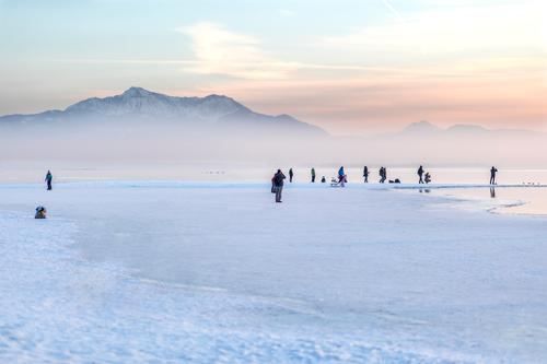Winter, Chiemsee, Alps Trip Snow Mountain Christmas & Advent Fitness Sports Training Closing time Water Sky Fog Ice Frost Snowfall Lake Cold White Dangerous