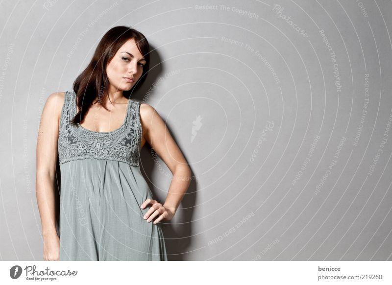 pinup Woman Human being Dress Summer Summer dress Alluring Arrogant Self-confident Wall (building) Lean Portrait photograph Flirt Model Stand Retro