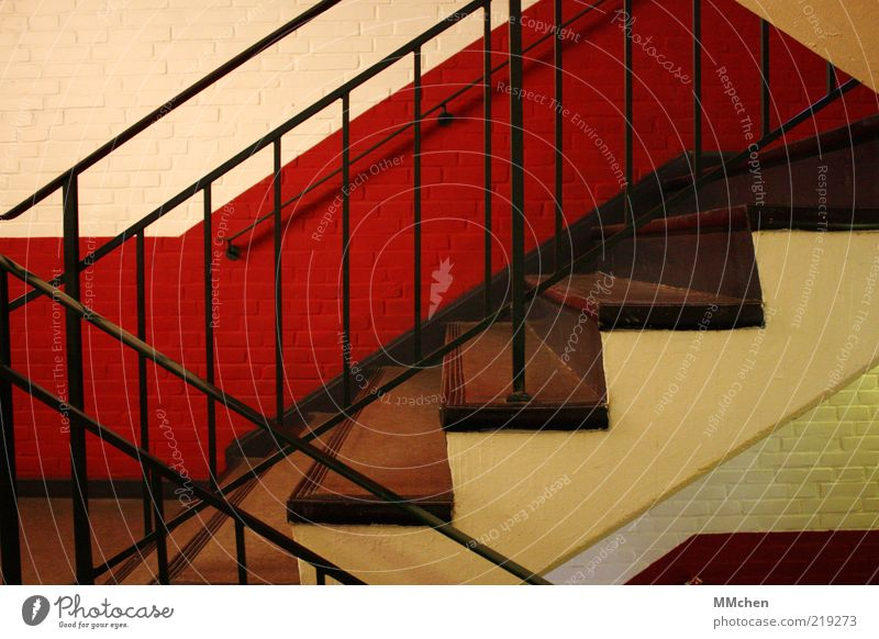 White Red Black House (Residential Structure) Wall (building) Wall (barrier) Stairs Clean Interior design Upward Ascending Handrail Effort Downward Go up