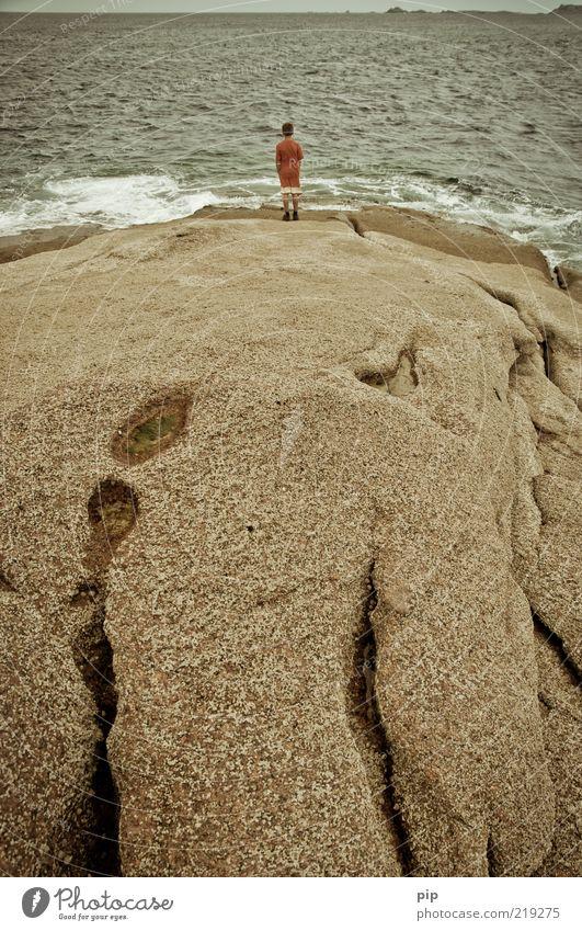 tv Boy (child) Nature Water Summer Rock Waves Coast Ocean Atlantic Ocean Observe Looking Threat Curiosity Wanderlust Bizarre Vacation & Travel Meditative