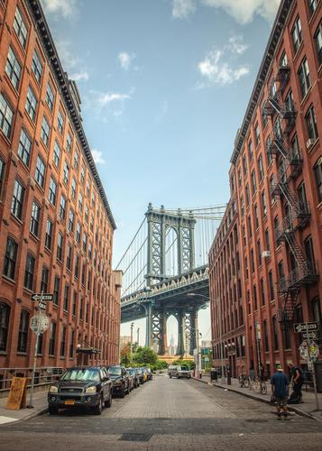 View from Dumbo to the Washington Bridge in New York Technology Sky New York City USA Town Outskirts House (Residential Structure) Industrial plant Factory