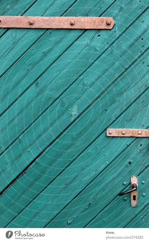 Advent Calendar, part 24 Door Wood Metal Lock Green Diagonal Door handle Entrance Way out Hinge Metalware Screw Seam Closed Wooden door Wood grain Colour photo