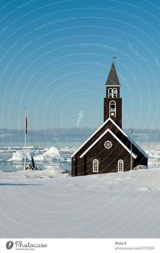 Ilulissat, Greenland Environment Landscape Sky Cloudless sky Climate Climate change Beautiful weather Ice Frost Snow Jakobshavn Deserted Church Blue White