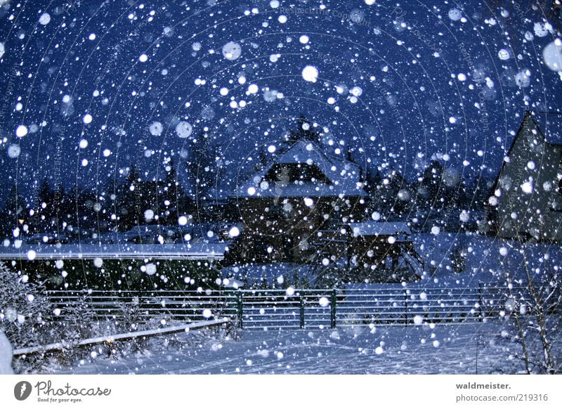 winter landscape Landscape Snow Snowfall Village Small Town House (Residential Structure) Esthetic Blue Black White Cold Calm Snowflake Fence Colour photo