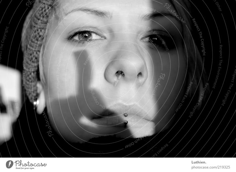 shadow play Human being Feminine Young woman Youth (Young adults) Woman Adults Head Face Eyes Nose Mouth Lips 1 Breathe Glittering Black White Cozy Cap Piercing