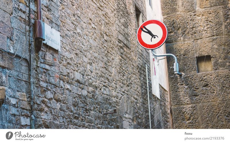 Street Art Jump Transport Signs and labeling Dangerous Signage Threat To fall Stop Risk Figure Warning label Street art Hold