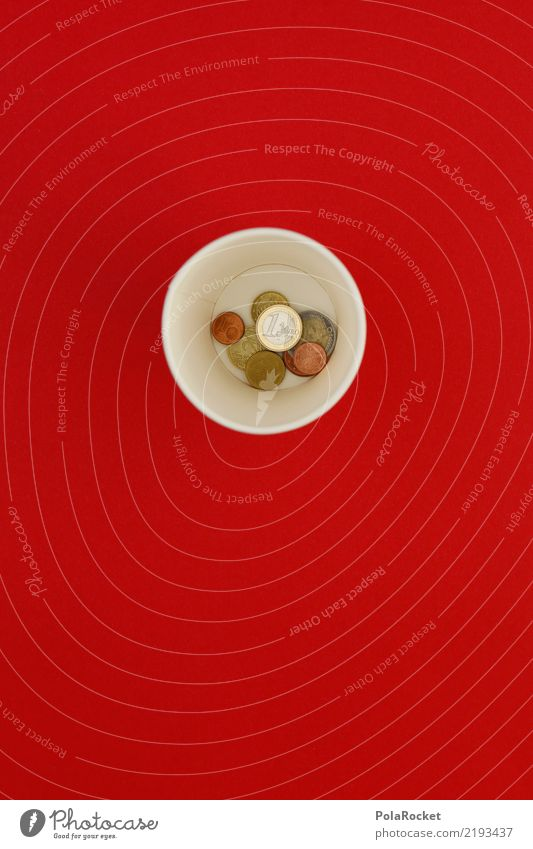 #AS# Mug change Art Esthetic Red Coin Money Beaker rim Collection Accumulate Save Few Loose change Tramp Colour photo Multicoloured Interior shot Studio shot