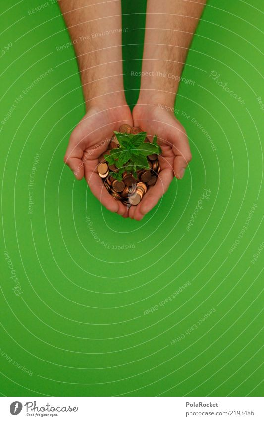 Green Hand Healthy Health care Growth Help Money To hold on Symbols and metaphors Kitsch Sustainability Ecological Financial Industry Share Coin Biological