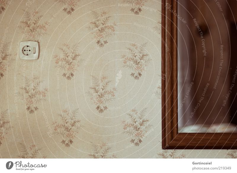 Old Wall (building) Wall (barrier) Brown Flat (apartment) Retro Living or residing Mirror Wallpaper Beige Socket Light switch Wallpaper pattern Flowery pattern