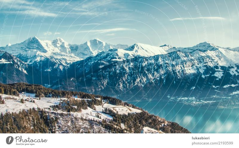 Swiss Alps and Lake Thun in winter Happy Harmonious Well-being Contentment Relaxation Calm Winter vacation Mountain Hiking Skiing Environment Nature Landscape