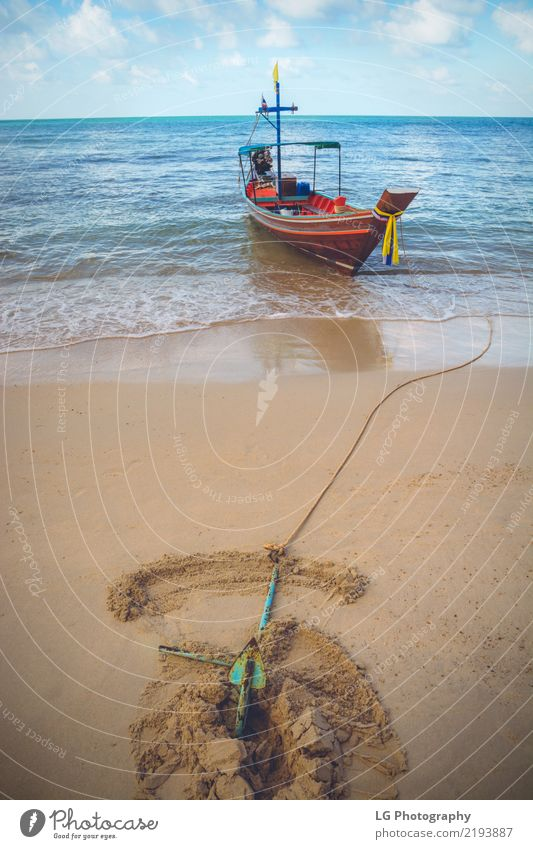 A boat is anchored at Bottle Beach Beautiful Relaxation Vacation & Travel Sun Ocean Rope Sand Transport Watercraft Discover Maritime Warmth Blue Brown Adventure