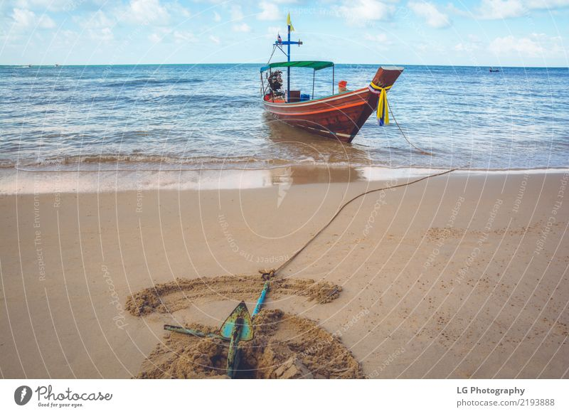 A boat is anchored at Bottle Beach Beautiful Relaxation Vacation & Travel Sun Ocean Rope Sand Transport Watercraft Adventure Exotic Idyll dug tied peaceful