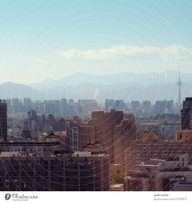 Extraordinary sunny weather Sightseeing City trip Quarter Tower block Sky Clouds Horizon Fog Mountain Beijing Capital city Downtown Office building