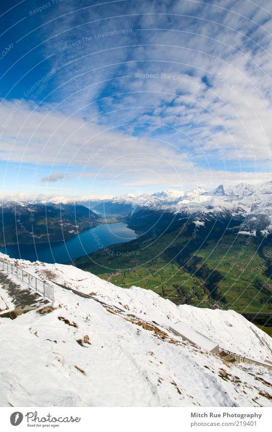 High above the world Calm Snow Mountain Environment Nature Landscape Sky Clouds Autumn Winter Rock Alps Peak Snowcapped peak Glacier Deserted Discover
