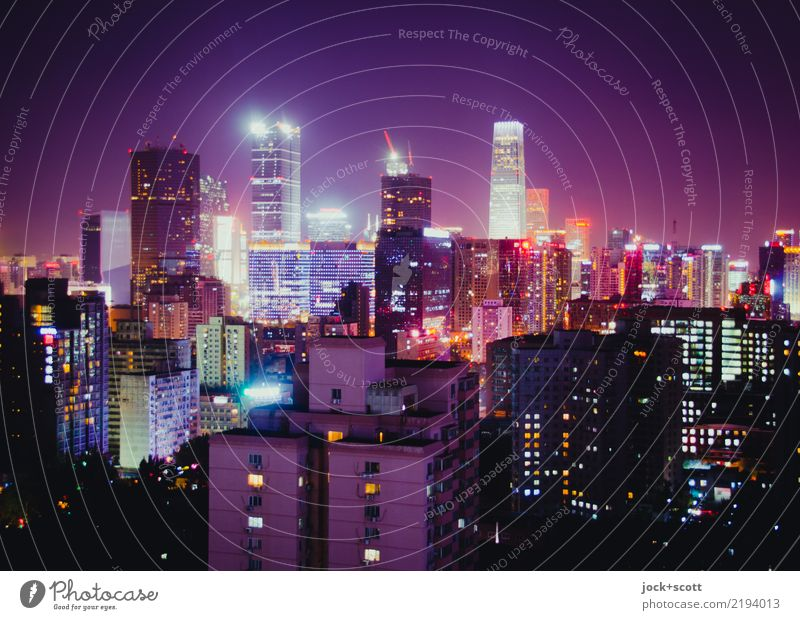 Good night storytelling Town Life Time Facade Modern High-rise Authentic Tall Many Skyline Network Capital city Downtown Luxury Sharp-edged Visual spectacle