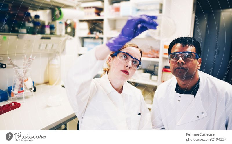 Future Team Concentrate Science & Research Teamwork Employees & Colleagues Advancement Gloves Chemistry Saftey goggles Biology Competent Scientist Smock