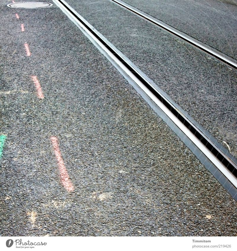 3 lines Construction site Deserted Transport Public transit Rail transport Railroad tracks Metal Gray Pink Pure Asphalt Tar Line Copy Space left