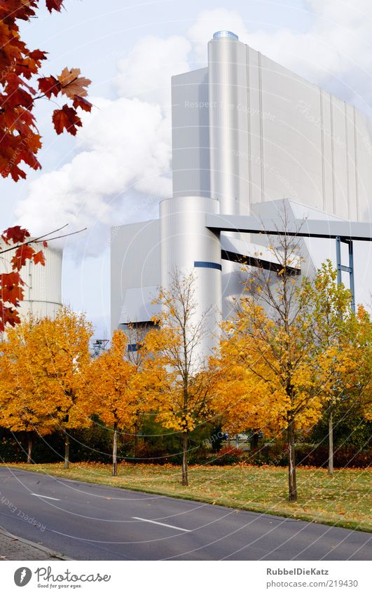 Street Architecture Elegant Facade Industry Energy industry Modern Factory Threat Science & Research Company Economy Industrial plant Futurism Autumn leaves