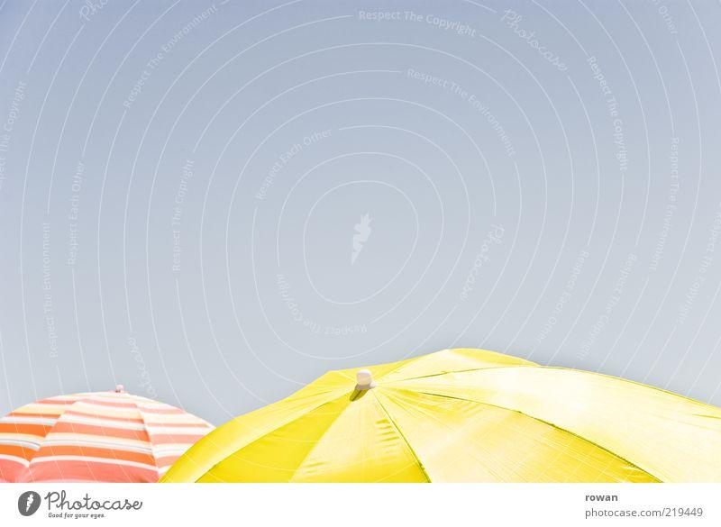 umbrellas Tourism Summer vacation Sun Sunshade Hot Colour photo Multicoloured Exterior shot Deserted Copy Space left Copy Space right Copy Space top