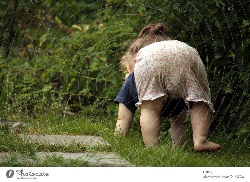 Human being Child Girl Green Life Emotions Garden Legs Power Funny Arm Beginning Bottom Lawn Posture Joie de vivre (Vitality)