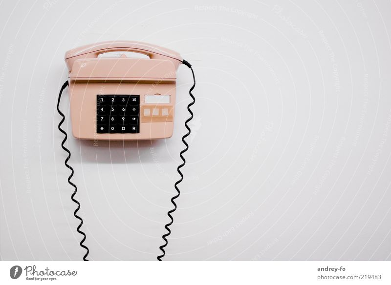 Old White Wall (building) Bright Pink Design Telephone Retro Telecommunications Keyboard Analog Plastic Key Receiver Cable Emergency call