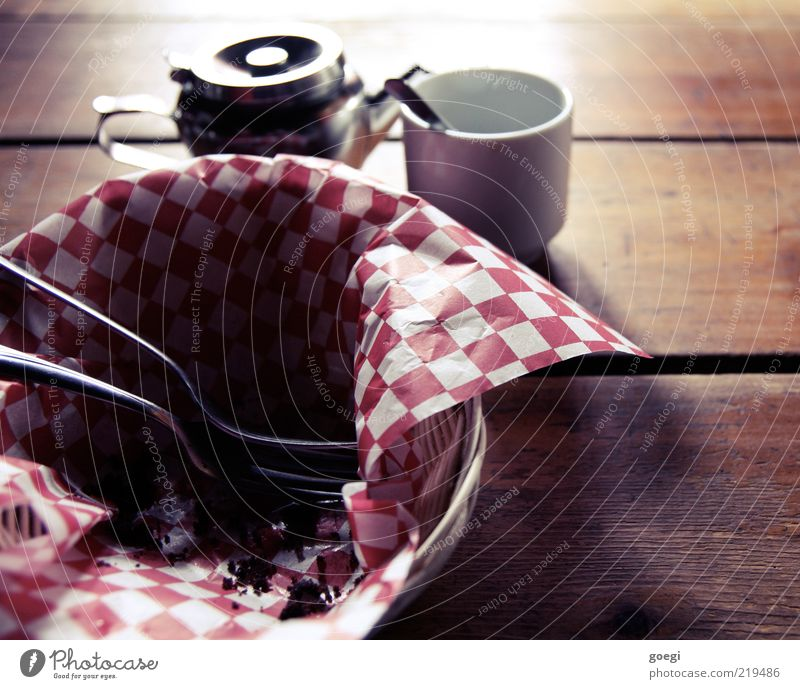 Food Table Beverage Coffee Tea Crockery Cup Section of image Checkered Basket Partially visible Cutlery Fork Spoon Wooden table Coffee cup