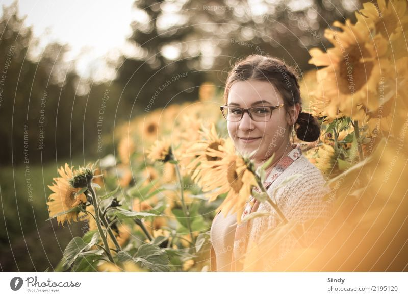 Sunflower5 Human being Feminine Girl Young woman Youth (Young adults) 1 13 - 18 years Nature Plant Leaf Blossom Sunflower field Field Eyeglasses Brunette Braids