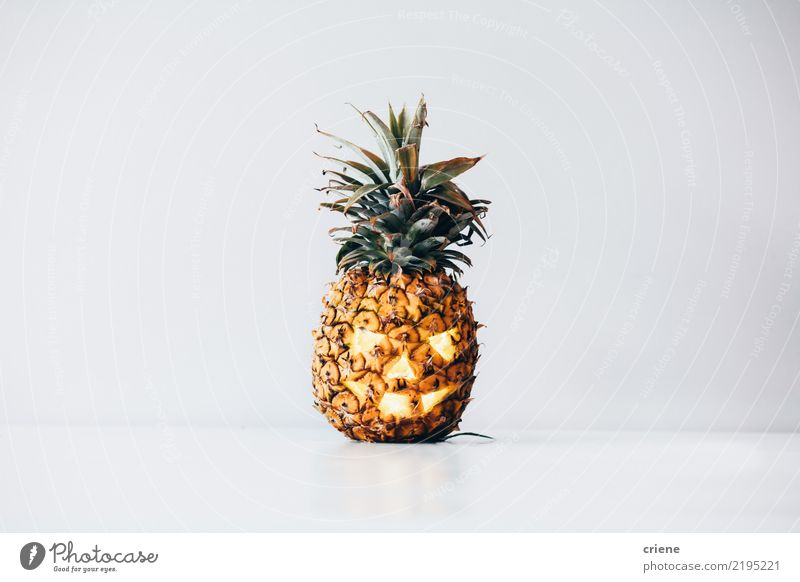 Creepy Pineapple Halloween Pumpkin Food Fruit Lifestyle Party Event Feasts & Celebrations Hallowe'en Fear Horror Face Tropical fruits Modern Minimalistic Funny