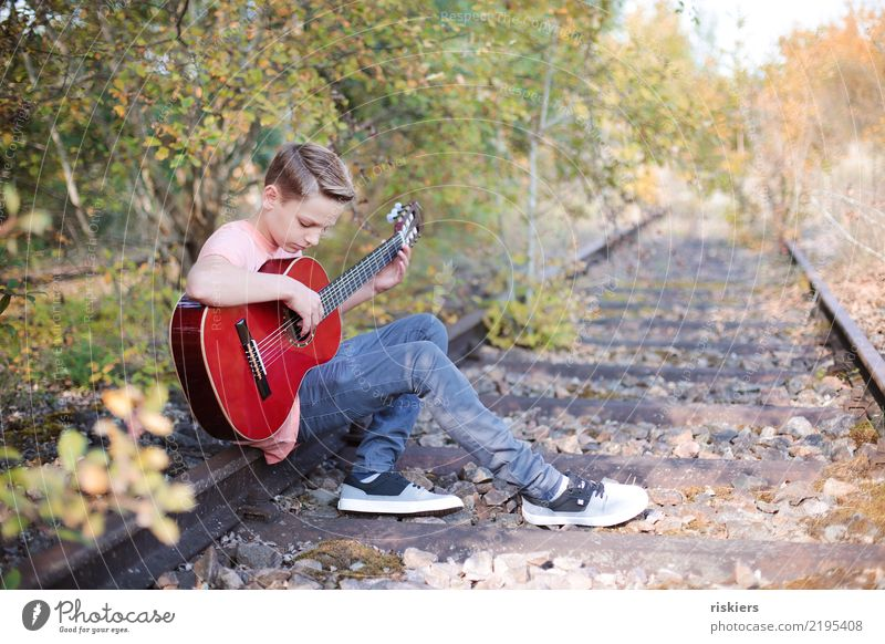 me and my guitar Human being Boy (child) Infancy 1 8 - 13 years Child Environment Nature Landscape Summer Autumn Beautiful weather Park Meadow Forest Relaxation