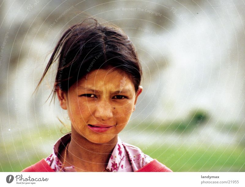Child Girl Wind Lips India Nepal Himalayas