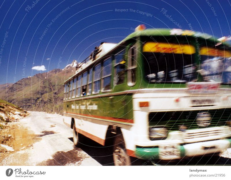 bus India Bus Speed Slope Blur Dust Transport Himalayas