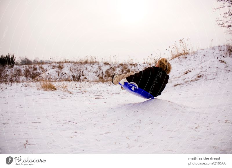 Human being Sky Nature Landscape Joy Winter Cold Environment Movement Snow Boy (child) Playing Masculine Leisure and hobbies Infancy Departure