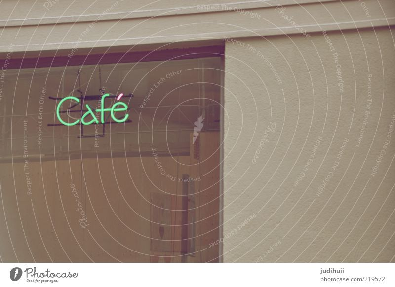 coffee culture Shop window Restaurant Building Logo Glass Gray Green Café Section of image Partially visible Detail Billboard Neon sign Characters Keyword Text