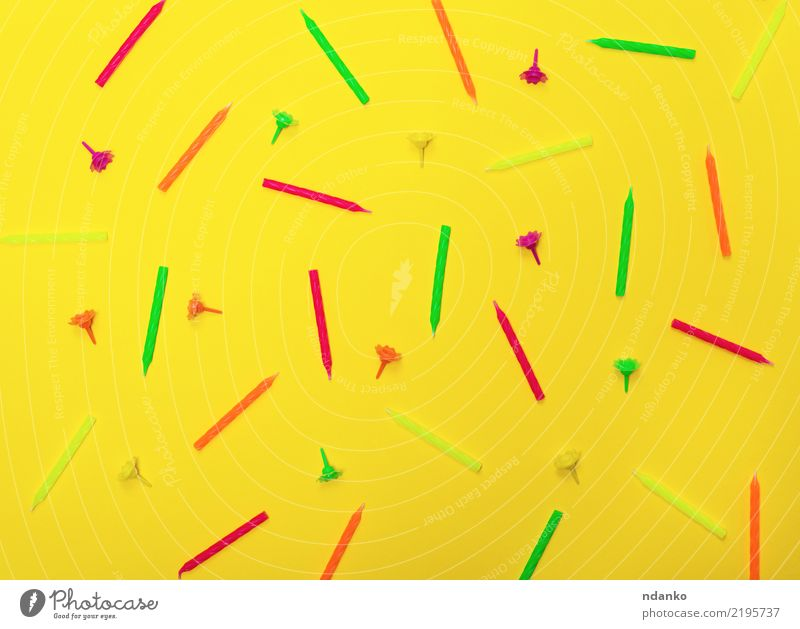 background with wax candles Joy Decoration Feasts & Celebrations Birthday Candle Bright Yellow Green Pink Red Surprise Colour Happy Idea orange party holiday