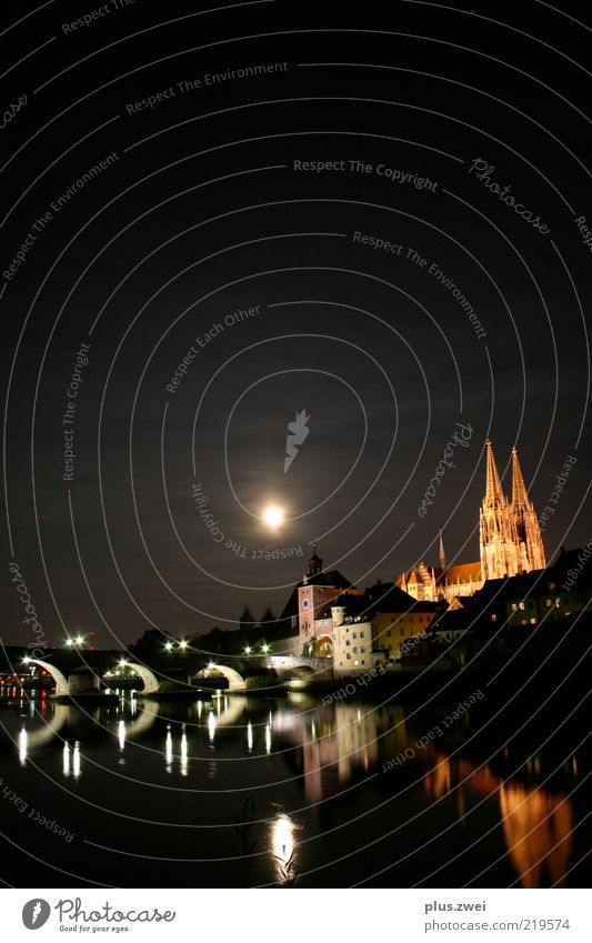 City Emotions Moody Lighting Bridge River Night sky Uniqueness Skyline Historic Landmark Illuminate Bavaria Dome Germany Perspective