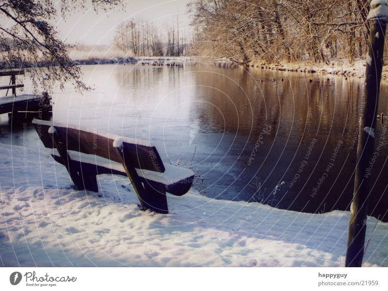 bench Cold Lake Bench Snow