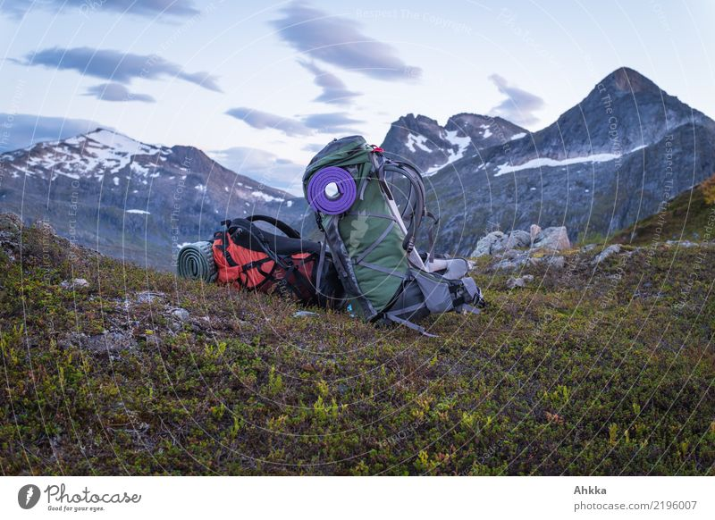 Two hiking backpacks in front of an evening mountain panorama Harmonious Well-being Contentment Senses Relaxation Calm Meditation Vacation & Travel Adventure