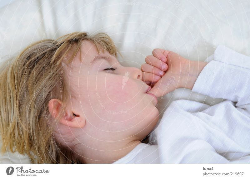 thumb Bed Child Human being Toddler Girl 1 3 - 8 years Infancy Sleep Dream Blonde Small White Contentment Safety (feeling of) Thumb Suck Cushion Colour photo