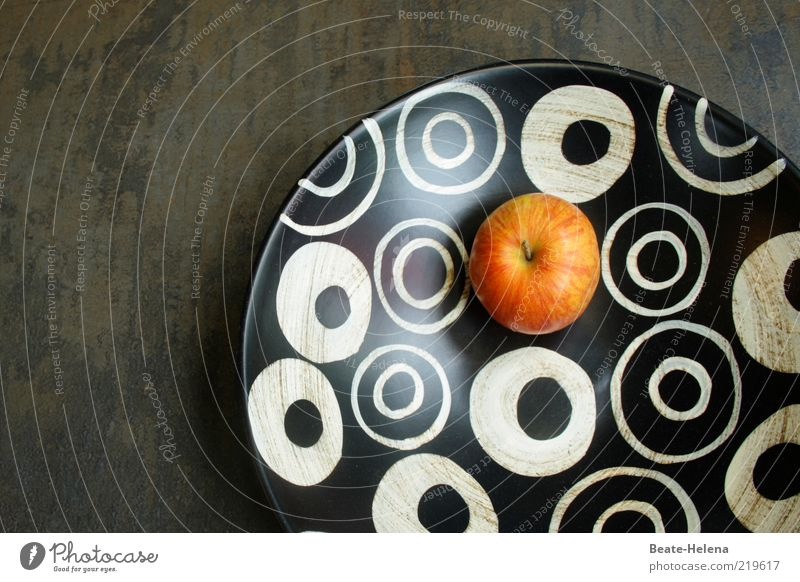 Here it goes round! Food Fruit Bowl Metal Round Black White Esthetic Elegant Fruit bowl Apple Circle Circular Modern Colour photo Copy Space left Nutrition