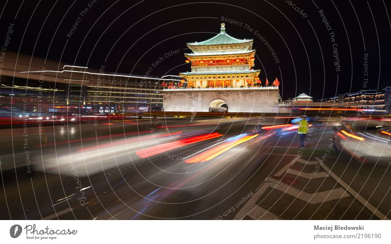 Xian bell tower at night, China. Sightseeing City trip Town Palace Tower Building Architecture Landmark Transport Street Lanes & trails Road junction Authentic