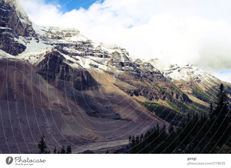 plain of the six II Environment Nature Landscape Earth Sky Clouds Autumn Ice Frost Snow Tree Forest Hill Rock Mountain Snowcapped peak Lake Louise Canada Cold