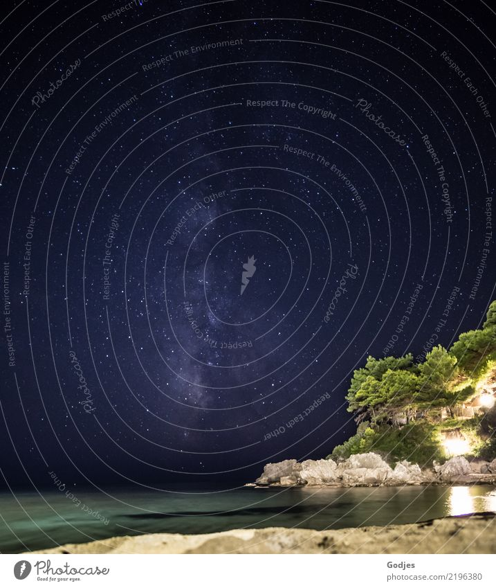 Milky Way | Glyfada Beach | Night | Nature Landscape Water Cloudless sky Night sky Stars Summer Hill Rock Coast Ocean Mediterranean sea glyphada Corfu Dream