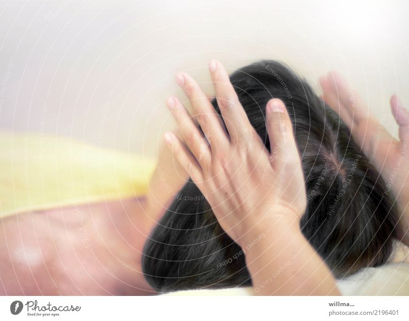 Woman Hand Relaxation Calm Adults Feminine Head Lie Wellness Well-being Personal hygiene Black-haired Massage Physiotherapy Masseur