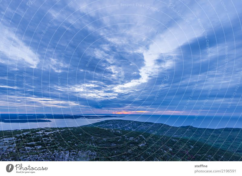 In the morning Nature Landscape Sky Clouds Sunrise Sunset Exceptional Maine New England USA East coast Colour photo Deserted Copy Space top Copy Space bottom