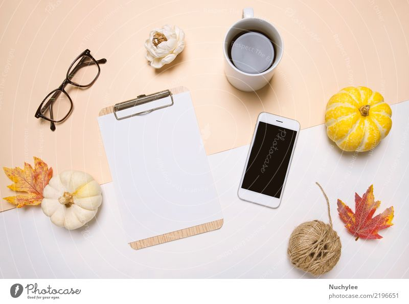workspace desk in autumn style Coffee Lifestyle Design Desk Thanksgiving Work and employment Workplace Office Craft (trade) Business Telephone PDA Technology