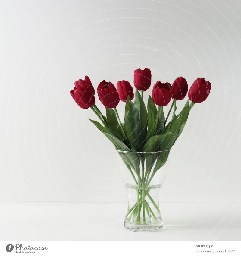 More than a thousand words. Art Esthetic Kitsch Arrangement Still Life Flower Bouquet Flower vase Fresh False Tulip Decoration Mother's Day Birthday wish Red