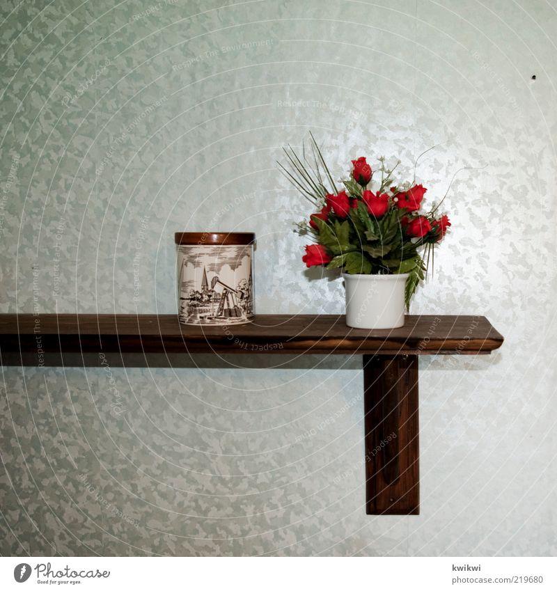 Green Red Wood Glittering Decoration Retro Rose Plastic Wallpaper Tin False Flower Flowerpot Shelves Packaging Plant